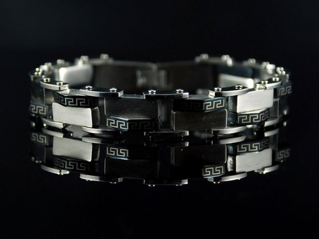 Free shipping&wholesale Christmas gift b386 Stainless Steel Bike Chain Greek Key Mens Bracelet