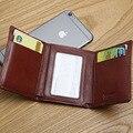 LANSPACE itália três fold mini carteira de couro pequena carteira dos homens