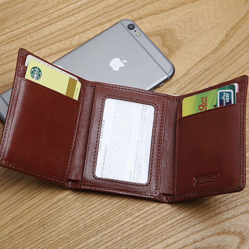 LANSPACE men's leather small wallet italy three fold mini wallet