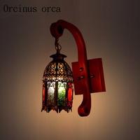 Mediterranean retro Morocco solid wood wall lamp bar aisle balcony coffee antique wall lamp free shipping