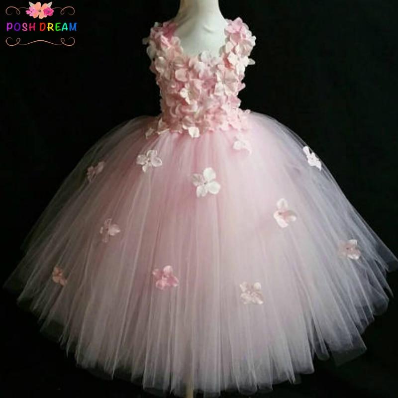POSH DREAM Light Pink Flower Tutu Dress for Wedding Party Yellow and Aqua Blue Flower Children Kids Party Dress Kids Clothes