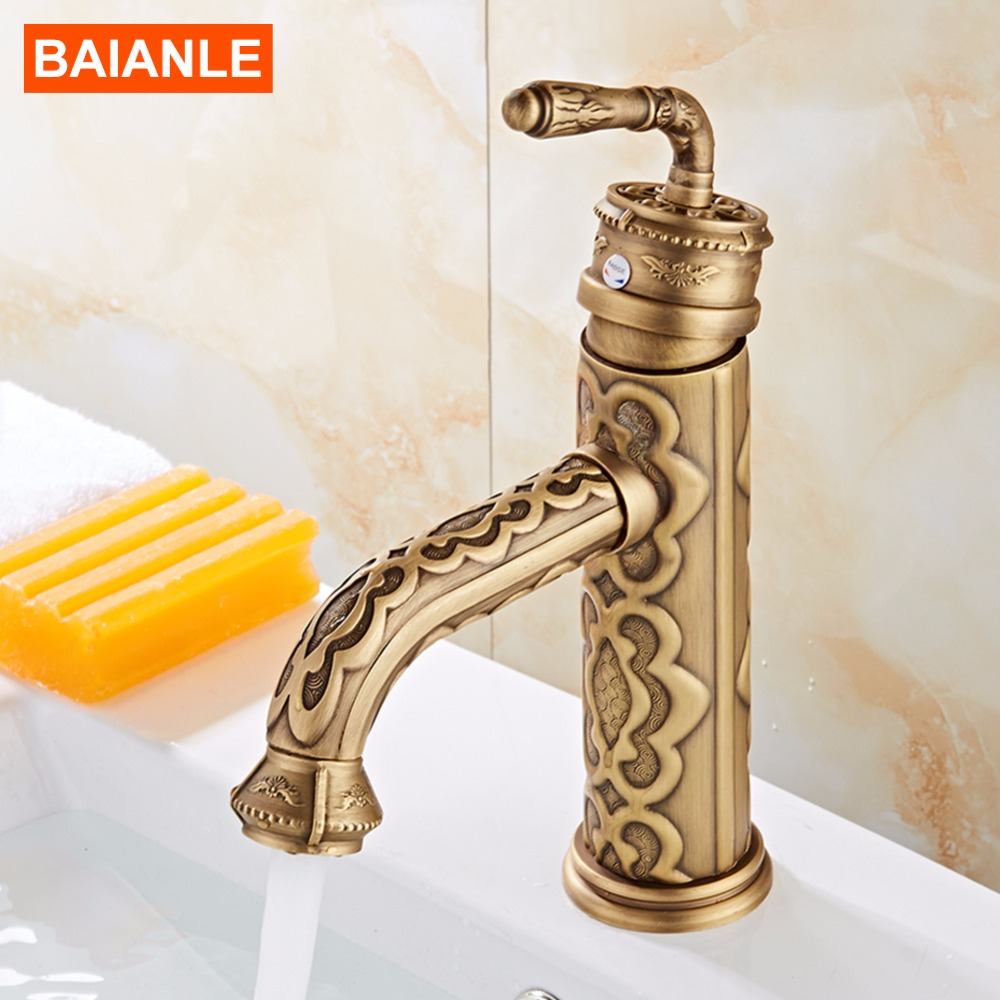 Antique Carve Brass Basin Faucet Single Handle Bathroom taps antique bronze Hot and Cold Water tap mixer itas9923 manufacturers specializing in the production of hot and cold taps antique faucet antique single type leaderkitchen mix