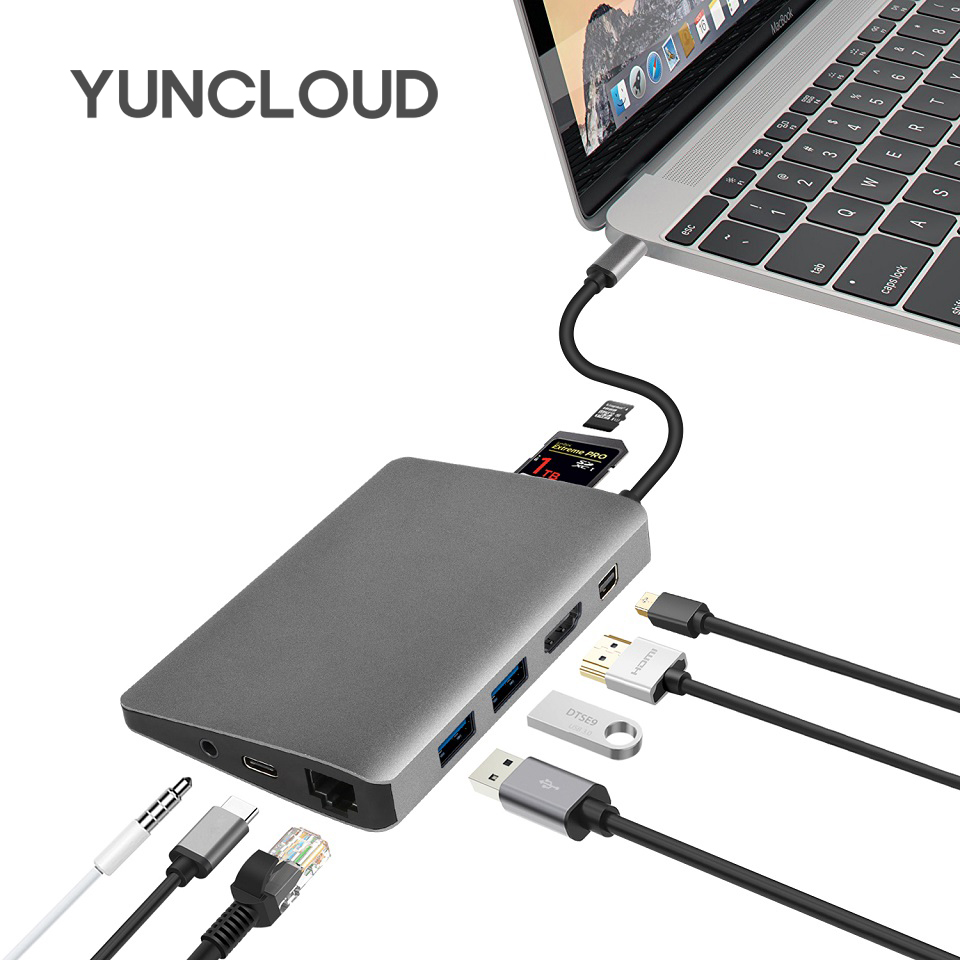 YUNCLOUD USB C Type C 3.1 Hub to HDMI Mini DP 3.5mm Audio Ethernet Adapter For Huawei P20 Samsung Galaxy S9 Pro Type-C USB 3.0