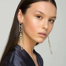 2019 New Arrival Occident Fashion Bohemia Letter ENGAGED Rhinestone Earrings Long Pendients Bride Catwalk Women Jewelry Lukeni