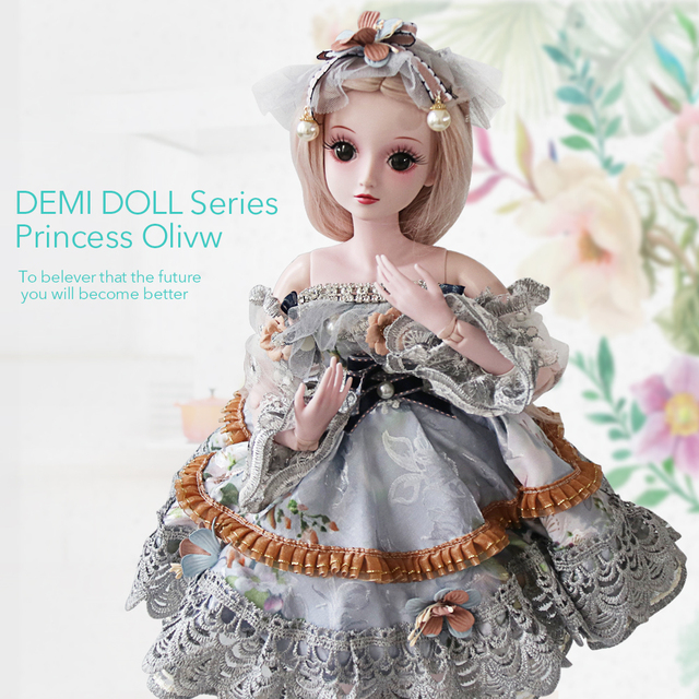 UCanaan 1/3 Girls BJD SD Doll Handmade Silicone Children Toy 19 Ball Jointed With Full Outfits DIY Dressup Kids Toys