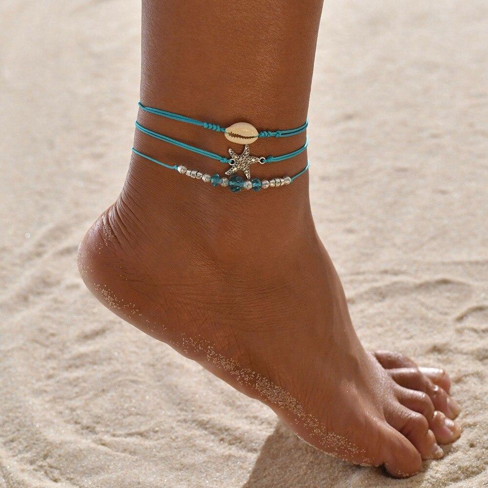 Huitan Bohemia Women Anklets Cute Conch Turtle Symbol Pendant Foot Chain Sequin Tassel Wrist Ankle Bracelets Wholesale Lots&Bulk