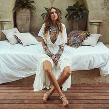Women's Cotton Lace Beach Style Sweet Summer Maxi Dress Solid V-Neck Ankle Length Holiday Dress Bohemian Ethnic Boho Dress