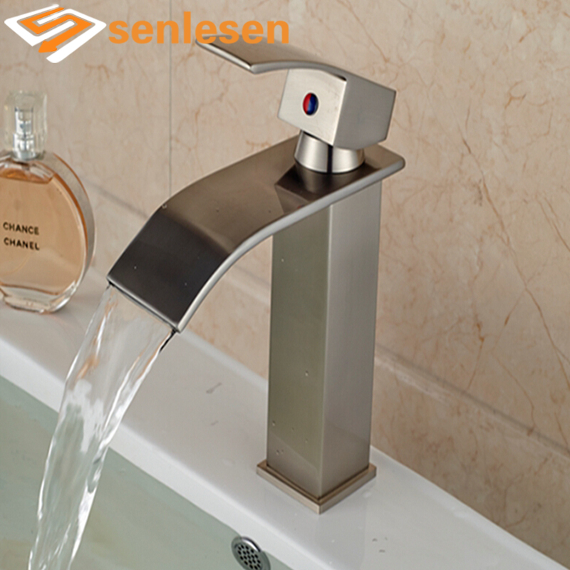 Free Shipping Waterfall Spout Brushed Nickel Bathroom Basin Faucet Vanity Sink Mixer Tap Single Handle стоимость