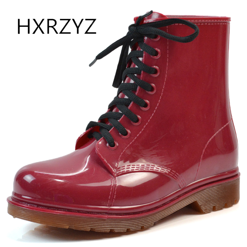 HXRZYZ women rain boots spring/autumn lace up ankle boots 2017 fashion ladies waterproof thick sole slip-resistant women shoes hxrzyz women rain boots spring autumn female ankle boots ladies fashion high top blue and red non slip waterproof women shoes