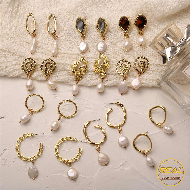 IF YOU Korean Fashion Real Freshwater Pearl Drop Earrings For Women Gold Color Meta Round Vintage Dangle Earring Jewelry Gift