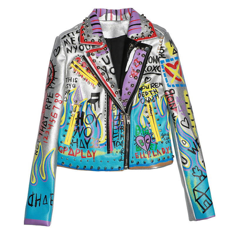 3aefd01d8a Melinda Style 2017 new women leather coat letter drawing pattern ...