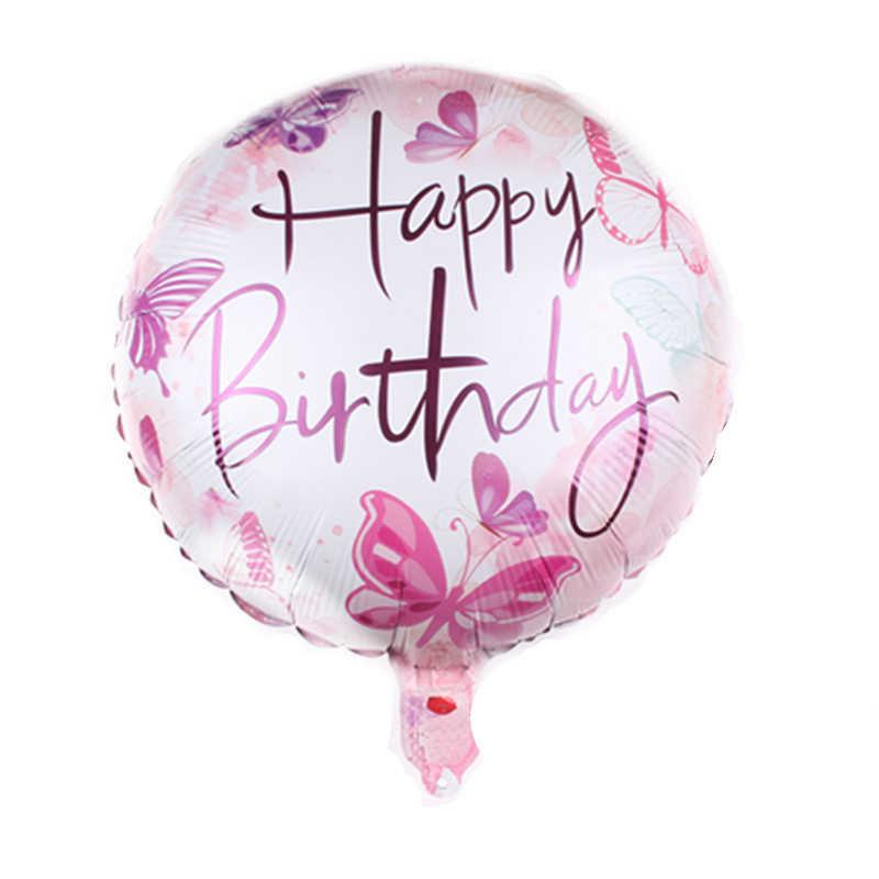 18 Inches Globos Gelukkige Verjaardag Folie Ballonnen Baby Douche Opblaasbare Speelgoed Ballons Helium Ronde Lucht Bal Kids Party Favor Decorat