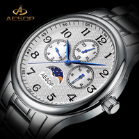 AESOP Men Quartz Watch Men Brand Wrist Wristwatch Moon Phase Waterproof Multi Function Male Clock Relogio