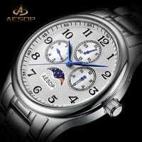 AESOP Men Quartz Watch Men Brand Wrist Wristwatch Moon Phase Waterproof Multi Function Male Clock Relogio