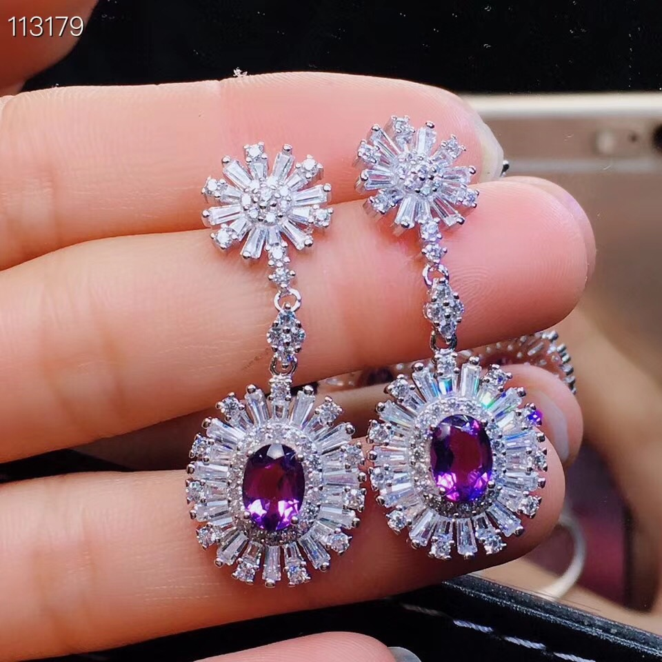 Natural And Real Amethyst Earring 925 sterling silver Earring For men or women