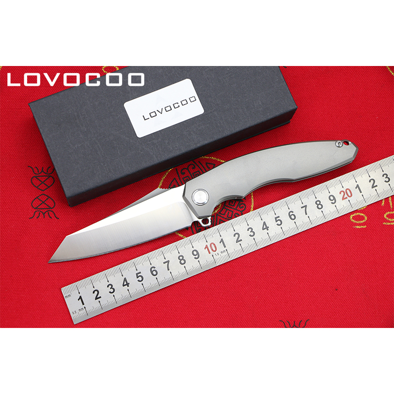 LOCOVOO ST-27 New arrival D2 blade Titanium handle Flipper folding knife Outdoor camping hunting pocket fruit knives EDC tools voltron f95 flipper folding knife bearing d2 blade g10 steel handle outdoor camping hunting pocket fruit knife edc tools