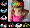 Fashion Children's Hair Accessories Rainbow Flower Headband Diamond Pearl Centered Soft Elastic Christmas Gift Kids Photo Prop