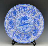 Large size oriental decorative blue and white porcelain ceramic dragon plates as table or wall hanging