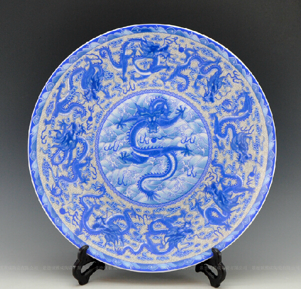 Large size oriental decorative blue and white porcelain ceramic dragon plates as table or wall hanging & Large size oriental decorative blue and white porcelain ceramic ...