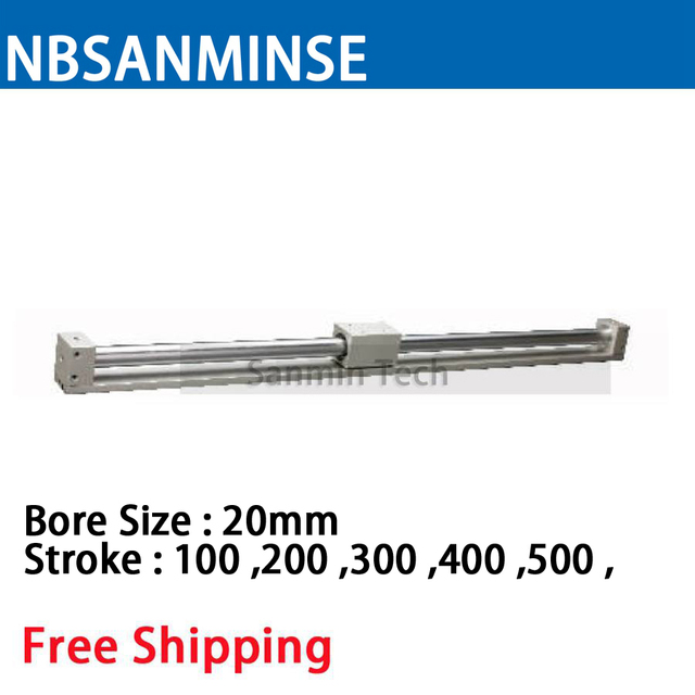 CY3R 20mm Bore Size Pneumatic Magnetically Coupled Rodless SMC Similar Parts Pneumatic Parts Compress Air Cylinder Sanmin