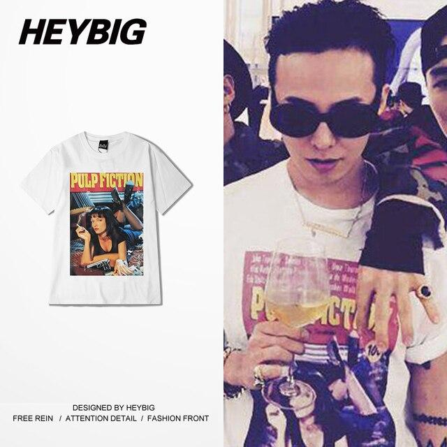 Корейский GD модули Одежда Криминальное Чтиво печатный футболки HEYBIG Swag Топы Американский Уличная Мода Футболка Хип-Хоп стиль Китай РАЗМЕР