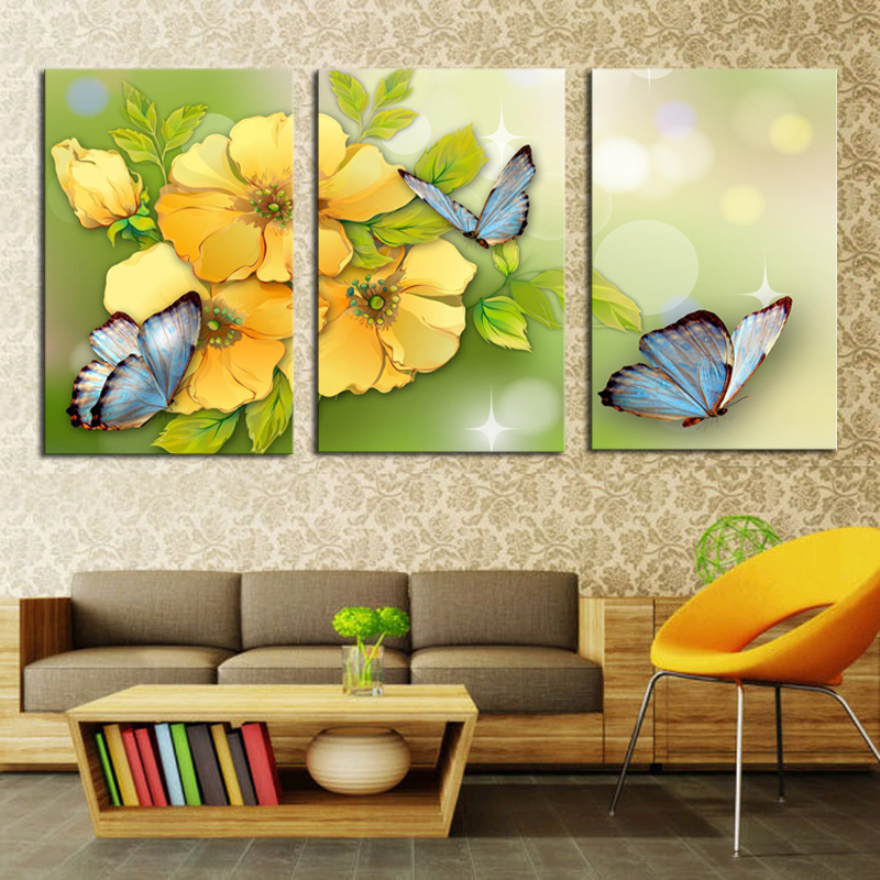 2017 Sale Promotion Cuadros 3 Piece And Butterfly Modern Home Wall ...