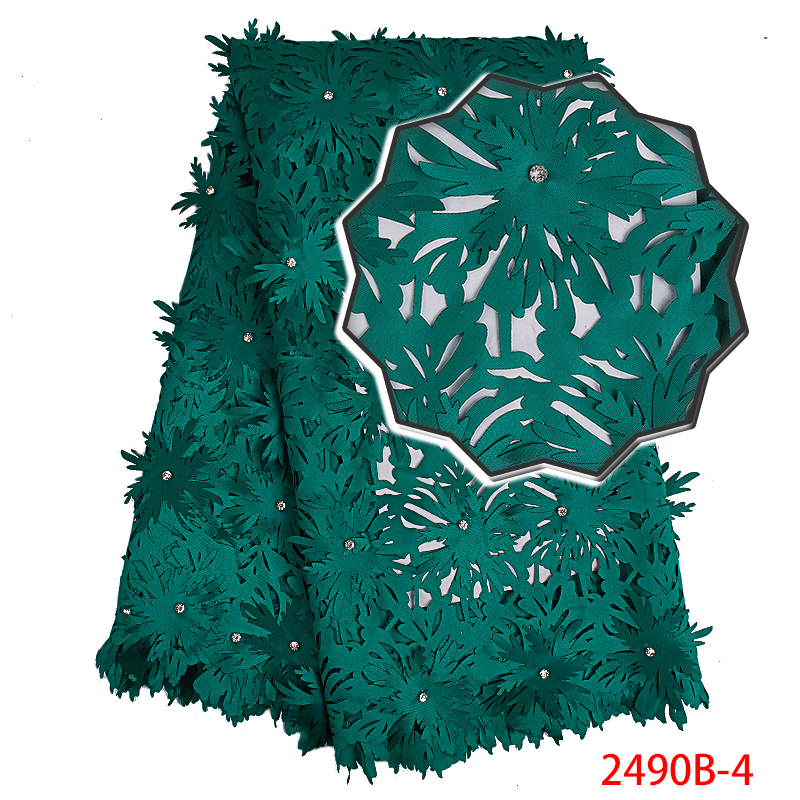 Latest African Laces Fabrics High Quality Nigerian Guipure French Cord Lace Fabric With Stones For Women Dress 5 Yards KS2490B-4