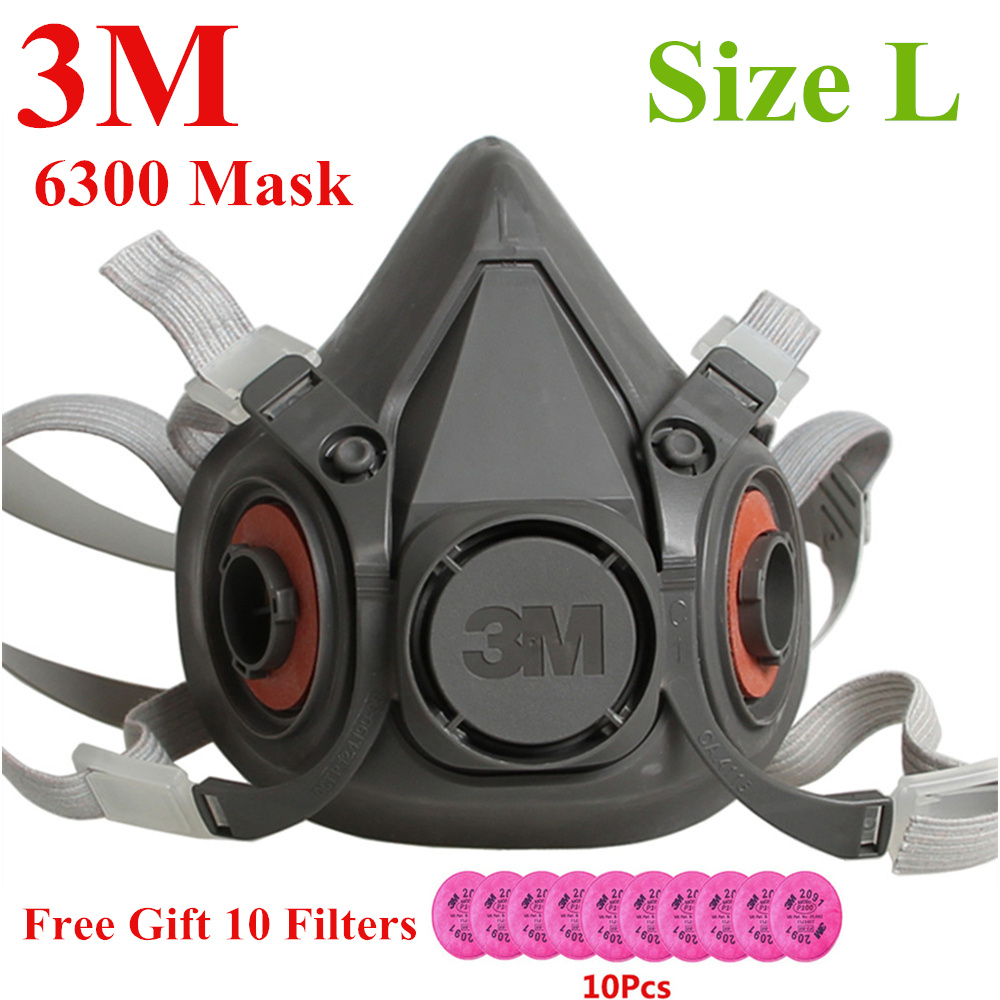 3M 6300+10pcs 2091 KN95 Dust Mask Respirator Headset Anti-particulate Filters Anti-Dust Mask Anti-fog Haze PM2.5 Protective Mask