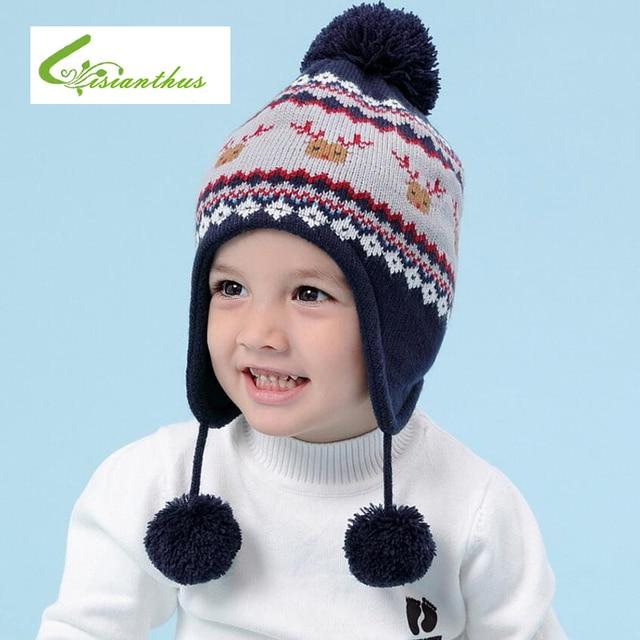 Children Hat Winter Christmas Elk Pattern Hat for Boy Girls Winter Warm Hat  Kids Ear Flap Cap Kids Crochet Thickened Caps Scarf 570856712512