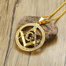 Round Shape Hollow Masonic Symbol Stainless Steel Pendant Necklace Gold Color Pendants CZ 60cm Chain Fashion Jewelry