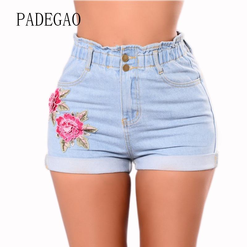 Short jean avec broderie florale pour l& ...
