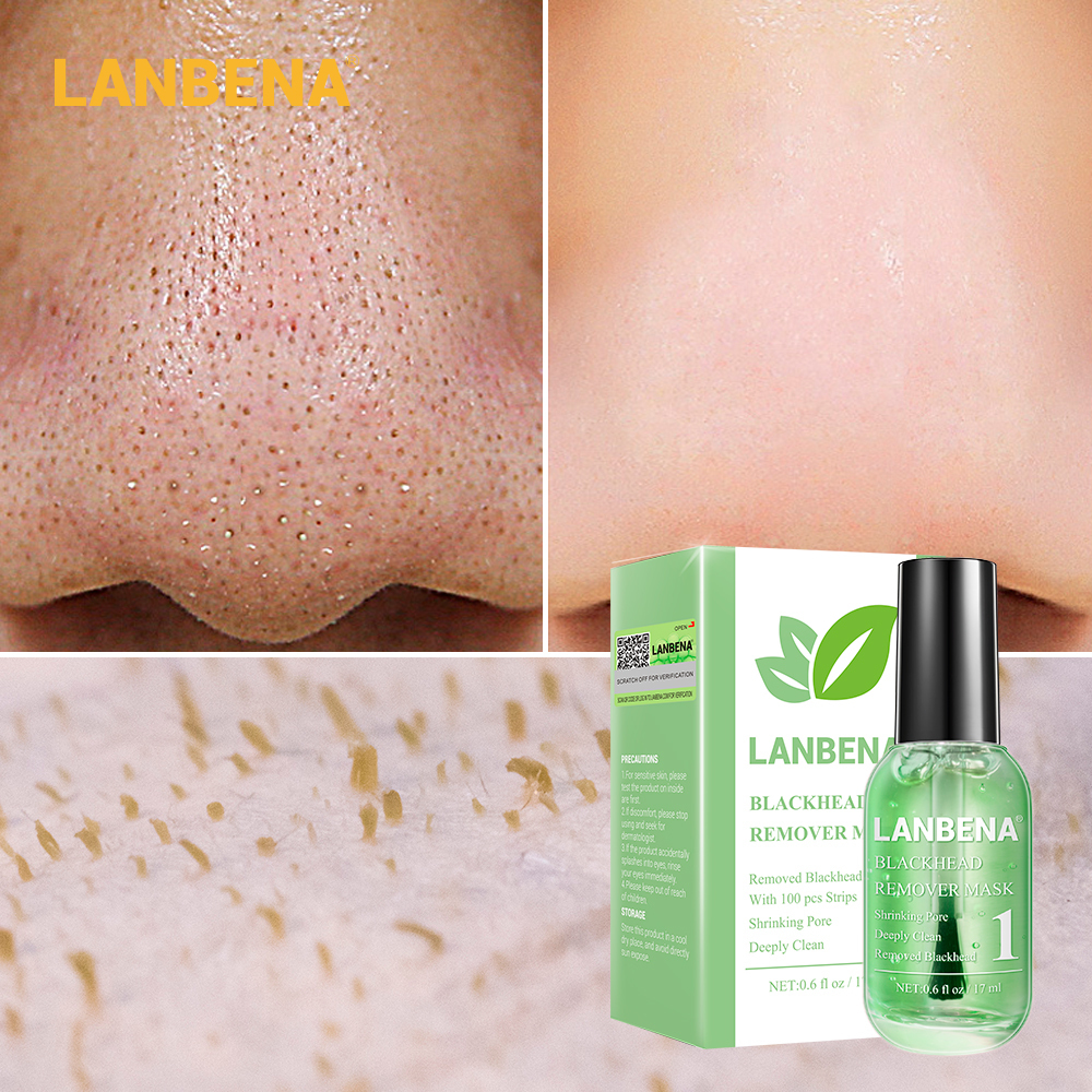 Lanbena Blackhead Remover Mask Serum Shrink Pores Acne Treatment Essence Deep Cleaning Purifying Smooth Skin Care Beauty 100pcs