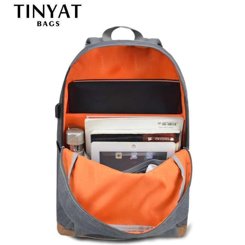 Tinyat 15 polegada mochilas portáteis computador masculino mochilas escolares dos homens lazer para adolescente viagem ombro mochila cinza