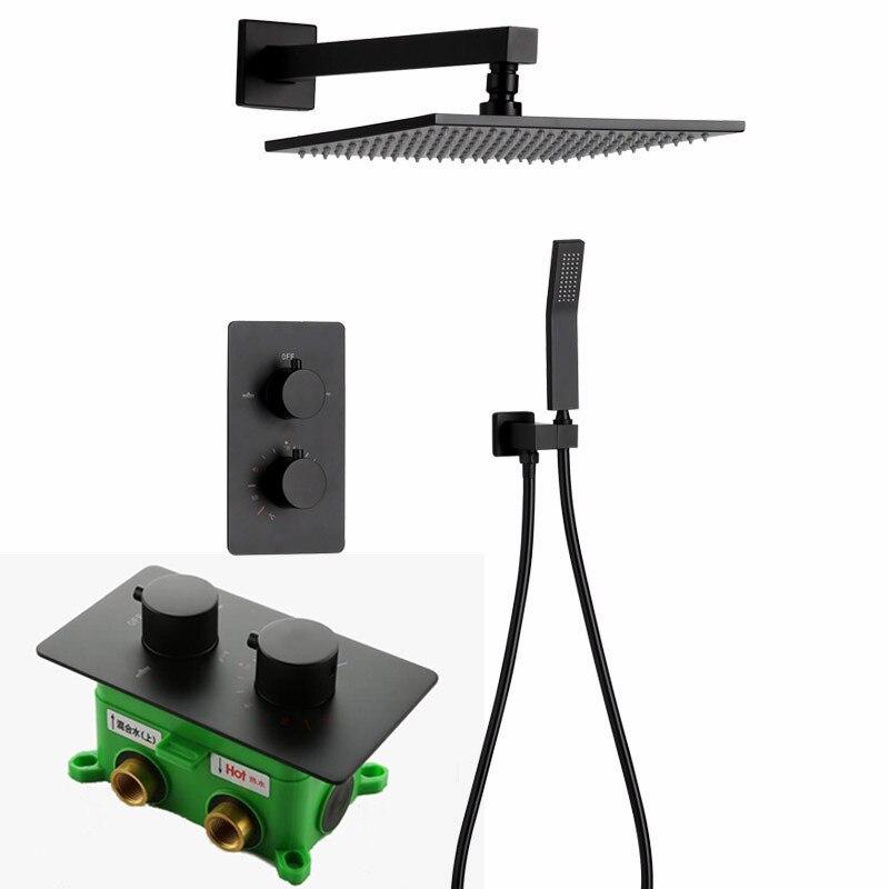 Thermostat Armaturen Schwarz Dusche Set 8/10/12/16 Zoll Badezimmer-niederschlag Dusche Wasserhahn Set Mit Handheld Dusche Kopf S125