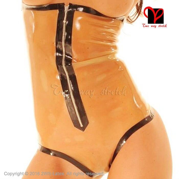 ec8b6df19b Transparent and black Sexy Latex bodysuit under breast front zipper high  cut leg Rubber swimsuit leotard
