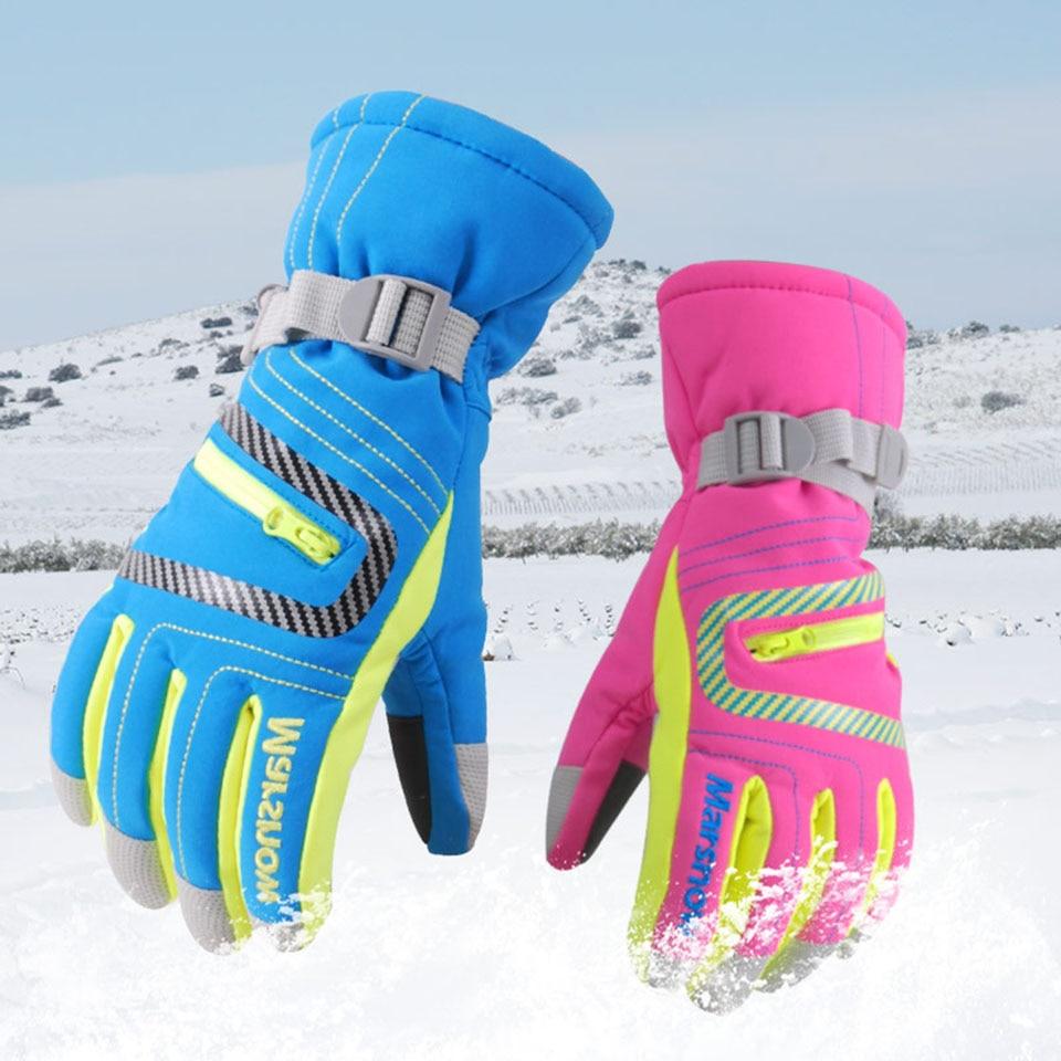 Marsnow invierno guantes de esquí profesional de las niñas niños adultos impermeable guantes de nieve niños a prueba de viento de esquí Snowboard guantes