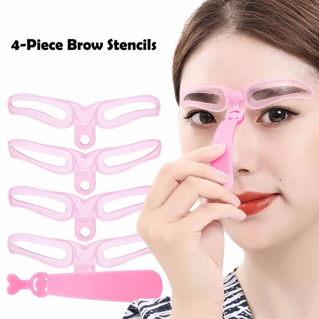 4Pcs/Set Drop Shipping Brow Stencils Reusable Eyebrow Shaping Defining Stencils Eye Brow Drawing Guide Template Makeup Tool