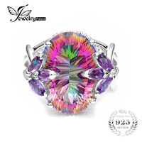 Jewelrypalace Solid 925 Sterling Silver 12ct Natural Amethyst Rainbow Fire Mystic Topaz Ring Cocktail Vintage Fine