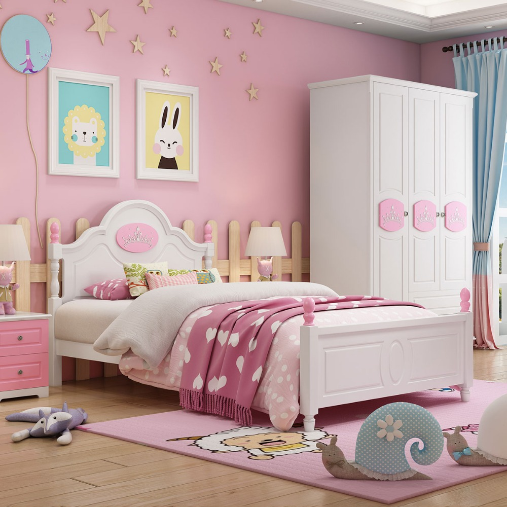 Children Beds Kids Furniture Pink Solid Wood Kids Beds Child Bed Chambre Bebe European Style Hot New Pink Girls Beds