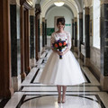 Hot Lace Wedding Dresses A Line Three Quarter Sleeves Tea Length Zipper Plus Size Short Bridal Gowns robe de mariage