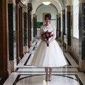 Hot Lace Wedding Dresses A Linha Três Quartos Mangas Tea Comprimento Zipper Plus Size Curto Vestidos de Noiva robe de mariage