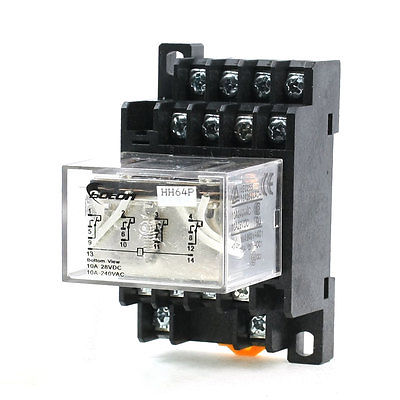 Подробнее о 35mm DIN Rail DC 12V Coil 4PDT 14P General Purpose Power Relay LY4NJ w Base  Free Shipping free shipping ac220v 240v coil red led general purpose power relay 4pdt 14 pin hh64p