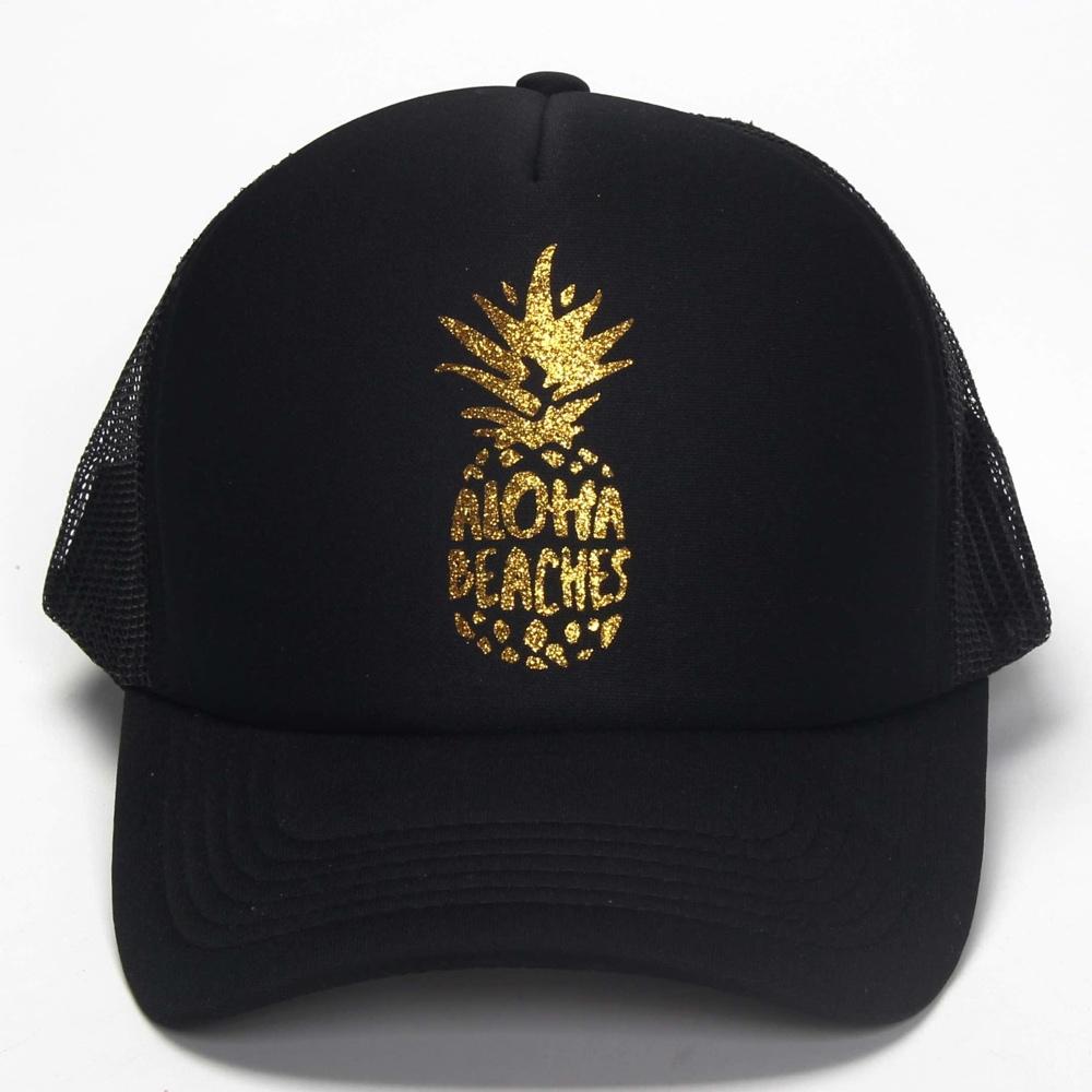 ff48f46fdae DongKing Fashion Trucker Hat ALOHA BEACHES Pineapple Print Gold Logo Top  Quality Baseball Caps Mesh SnapBack Holiday Sun Gift