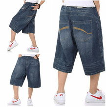 2015 Summer Hip Hop Harem Baggy Pants Men Denim Jeans Shorts Skate Jeans Shorts for Men Plus Size 30-46
