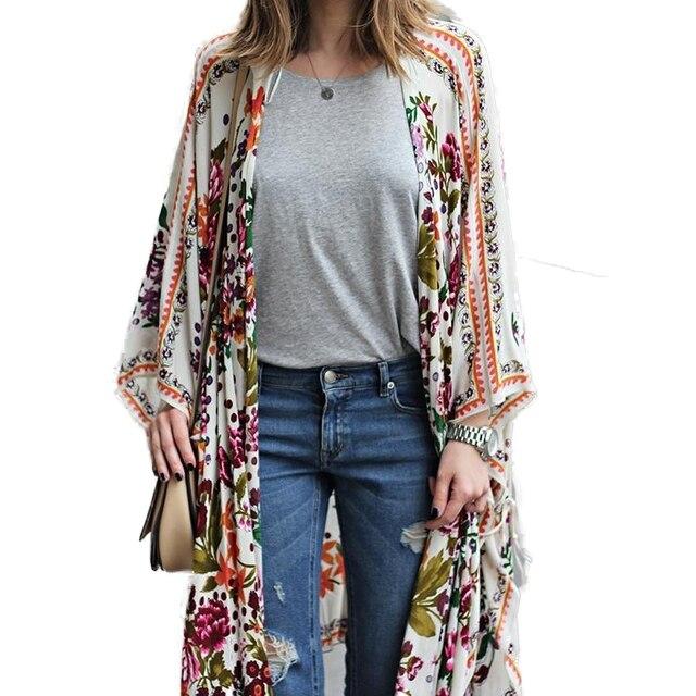 44897a56160 2018 Spring Autumn Kimono Long Chiffon Cardigan Women Casual Floral Print  Chiffon Tops Plus Size Loose Beach Clothing 4XL