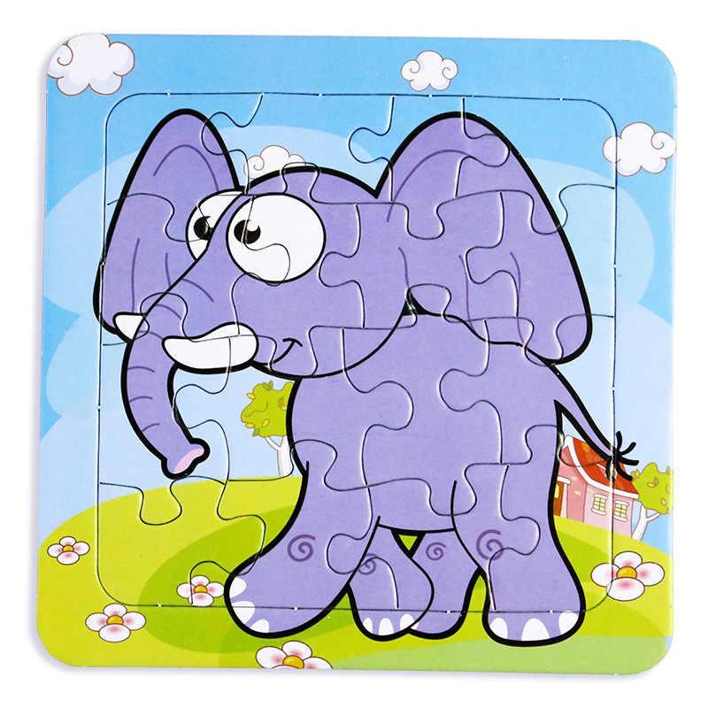 Пазлы с героями мультфильмов, животными, слоном транспортного средства с фруктами обучающая игрушка для детей цифровая бумажная игра-головоломка детские игрушки
