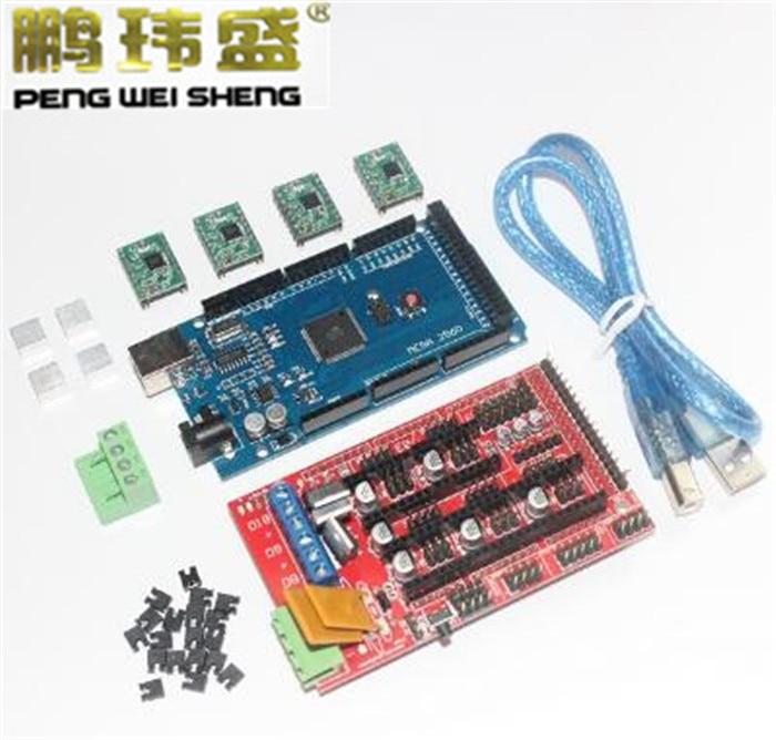 3D Printer Kit for Arduino Mega 2560 R3 Development Board + RAMPS 1.4 Controller + 4pcs A4988 Stepper Motor Driver Module