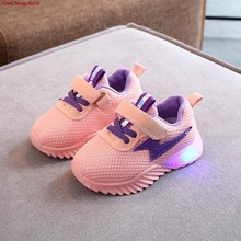 Kids LED Ligth Shoes Boys Boots Spring Autumn Girls Fashion Breathable Wings Glowing Shoes Baby Luminous Sneakers For Boys(China)