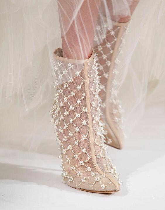 Beige Ver A Lujo Zapatos Picture Cadena Las Botas De Hueco Delgada Talones Través Cuero Señaló Malla As Mujeres Banquete Botines zEx8w1