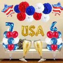 цена на American Independence Day July 4th Aluminum Film Balloon Set Flag Patriotic Festival decoration Letter Number Pentagram Ballons